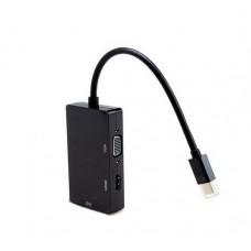 Переходник - адаптер mini DisplayPort (DP) -  DVI / HDMI / VGA, DP-007B черный