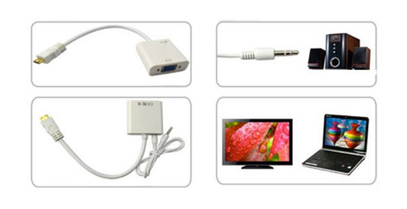 Конвертер сигнала micro HDMI в сигнал VGA с выходом звука RCA 3.5mm