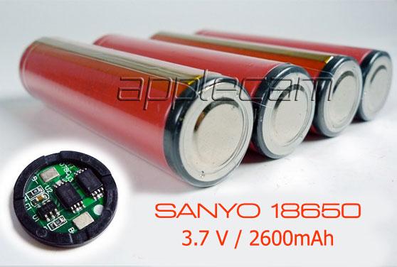 Аккумулятор перезаряжаемый Sanyo 18650 емкость 2600 мАч